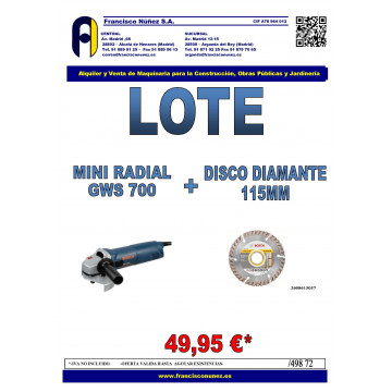 LOTE RADIAL GWS 700 + DISCO DIAMANTE 115MM